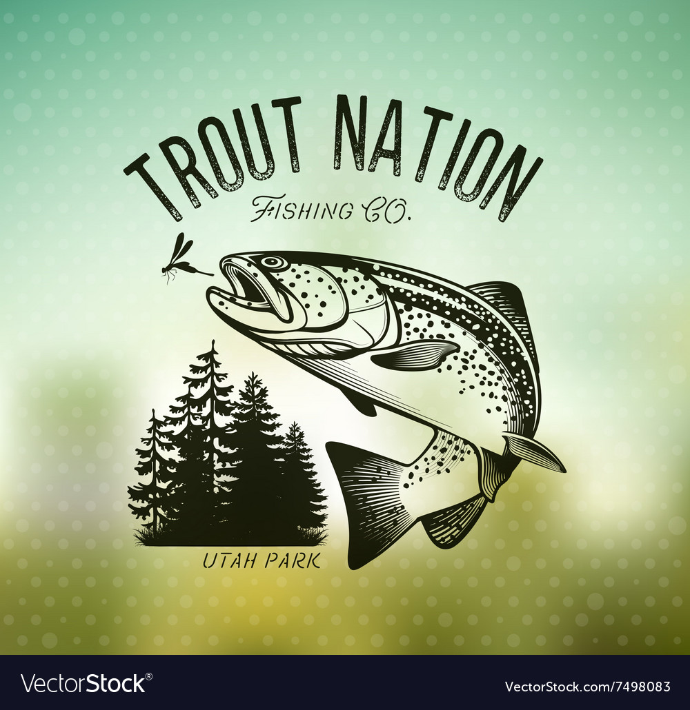 Vintage trout fishing emblems vector