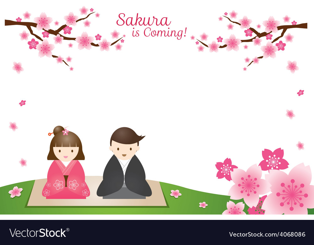 Cherry blossoms and japanese couple background vector