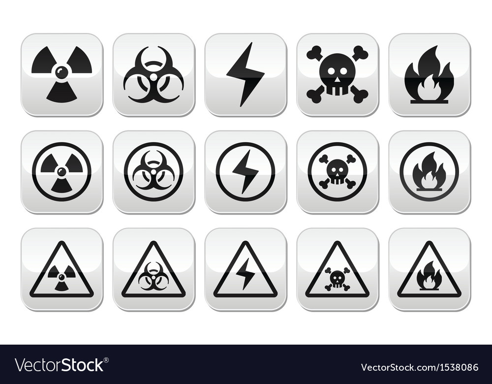 Danger risk warning buttons set vector