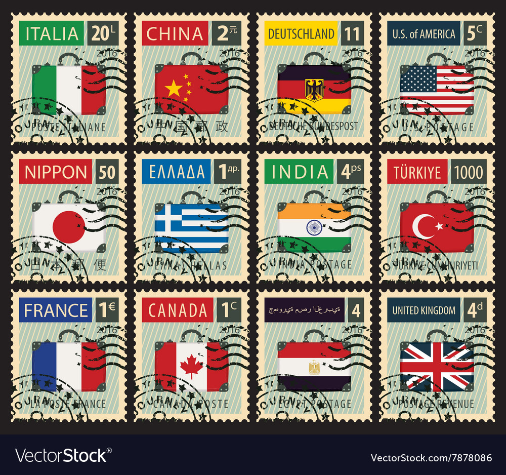 Stamps with flags of different countries vector