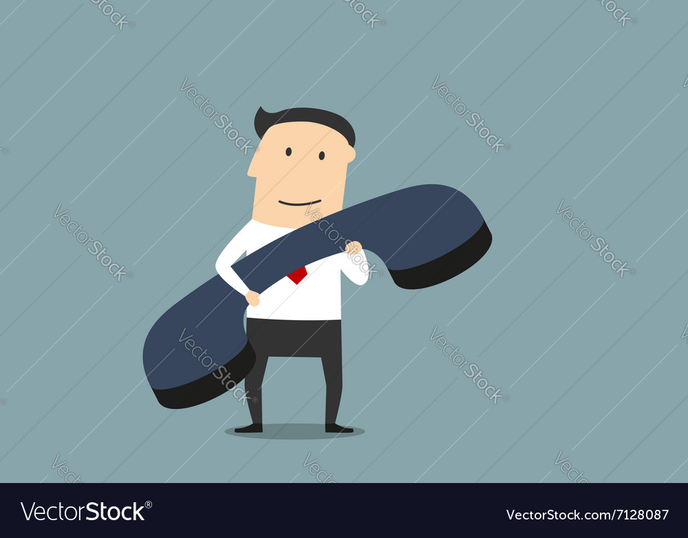 Businessman with large blue handset vector
