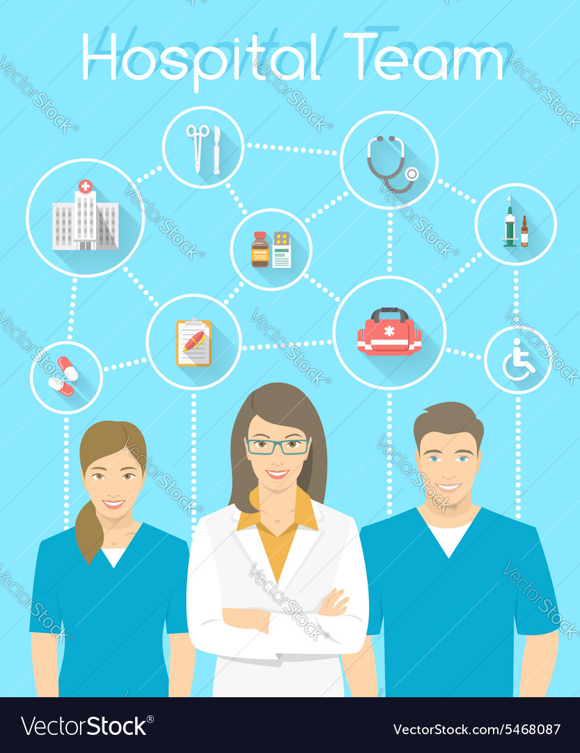 Medical clinic staff doctor and nurses vector