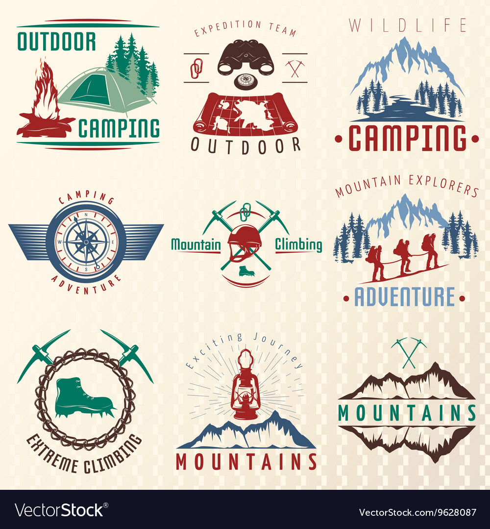 Mountain expeditions colorful emblems vector