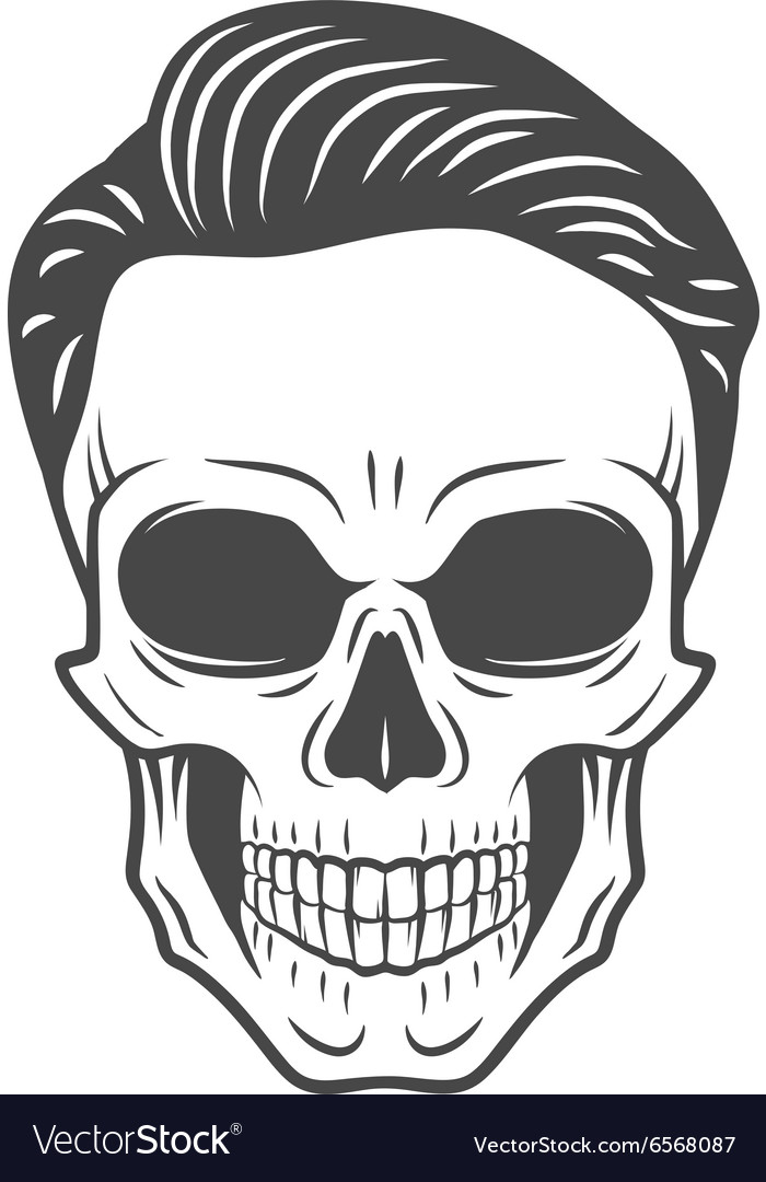 Young stylish skull with hipster hair glamour vector
