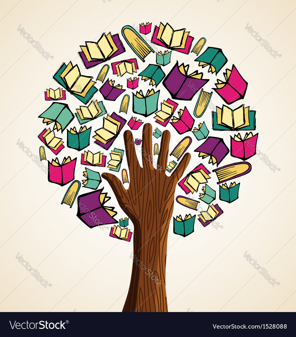 Art hand books tree vector