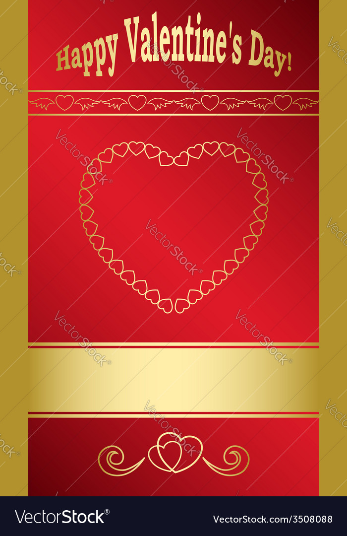 Bright red card with gold hearts for valentine day vector