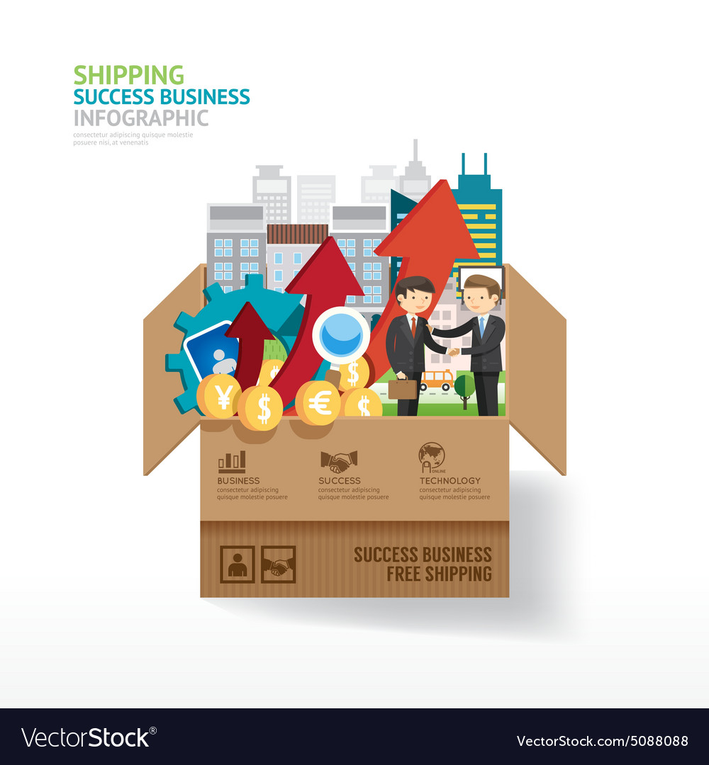 Infographic business design open box with finance vector