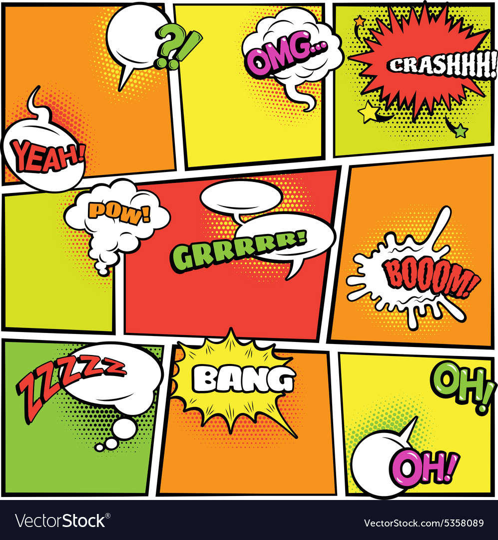 Comics bubbles bright colors collection vector