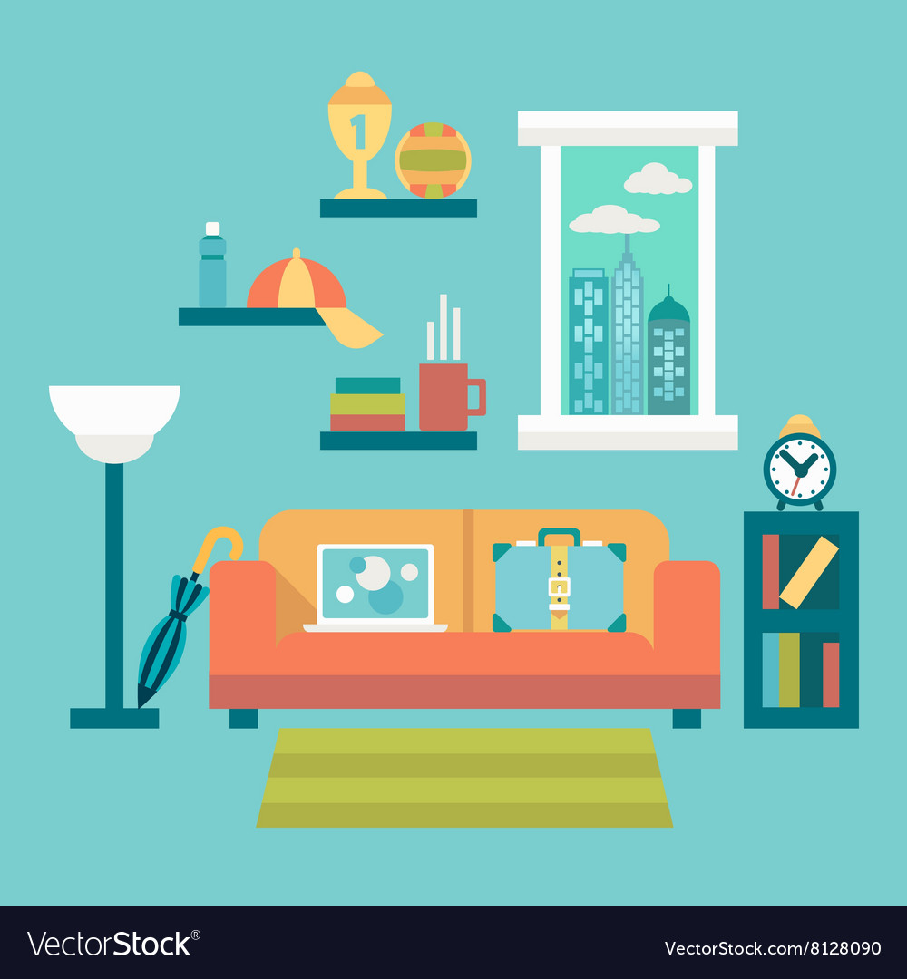 Flat design of modern home office interior with vector