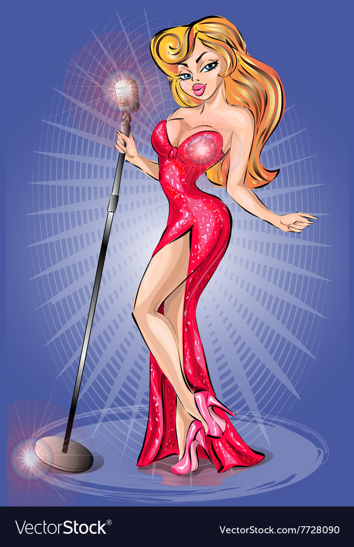 Sexy pinup girl wearing red dress singing with vector
