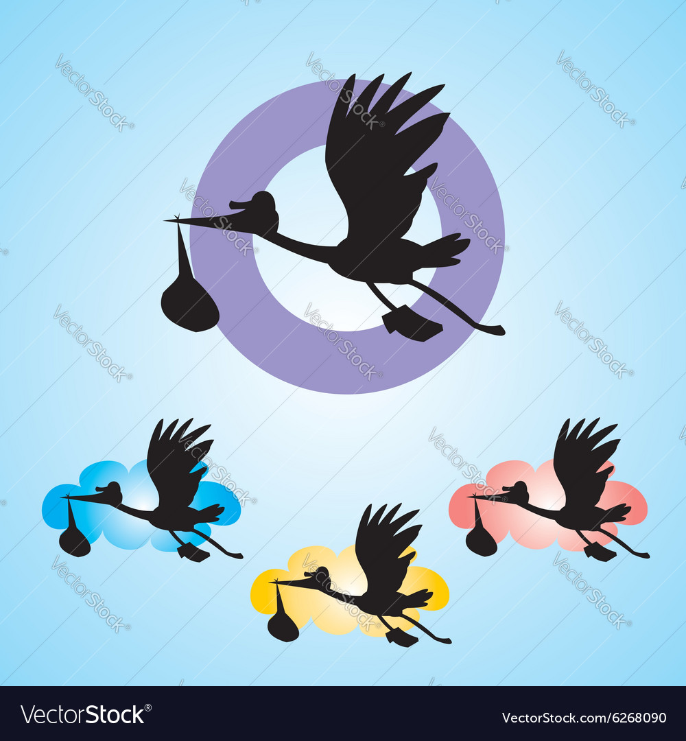 Stork with baby isolated on blue background vector