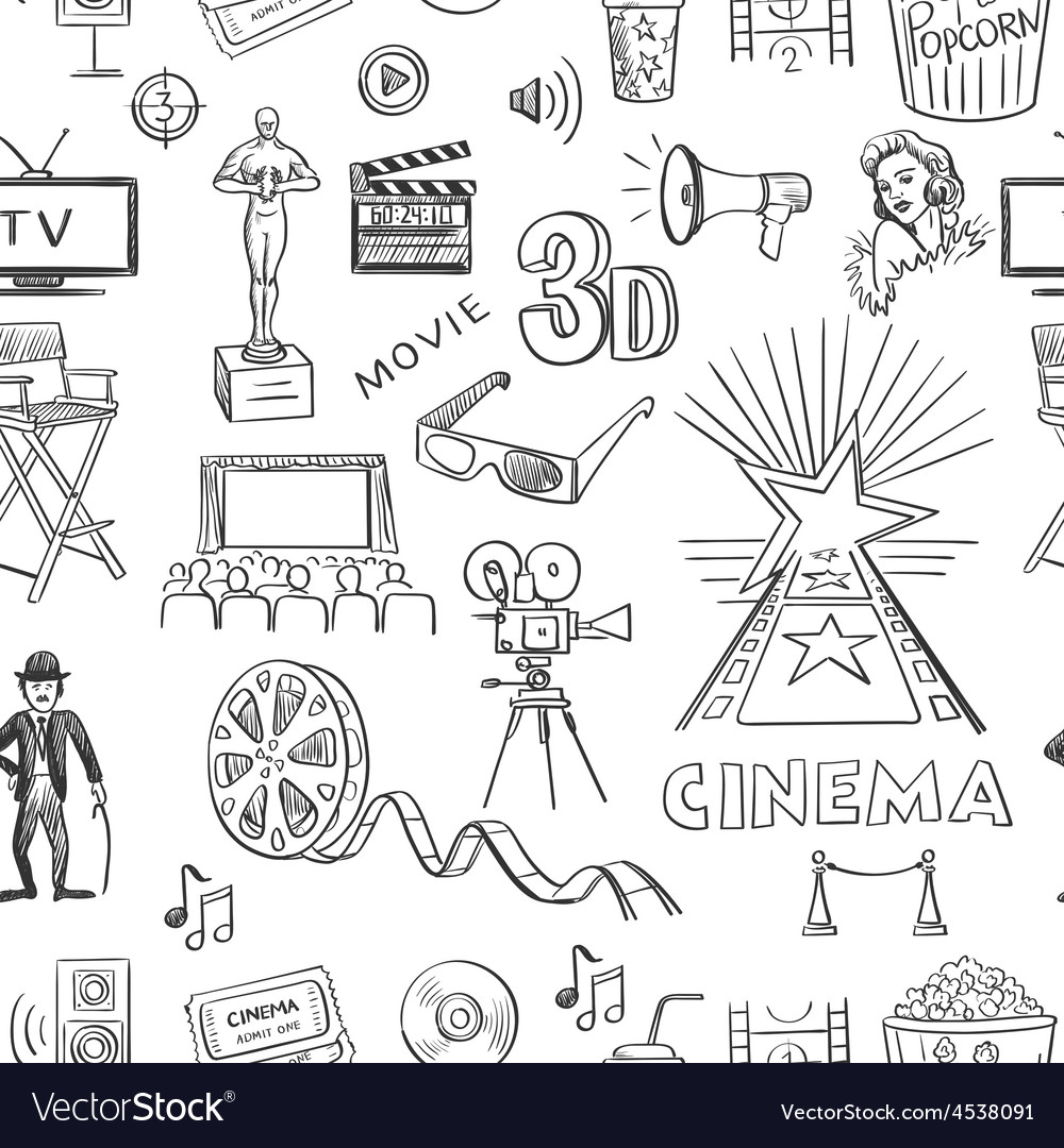 Hand drawn cinema pattern vector