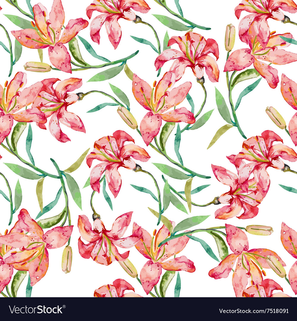 Seamless floral pattern lilies flowers vector