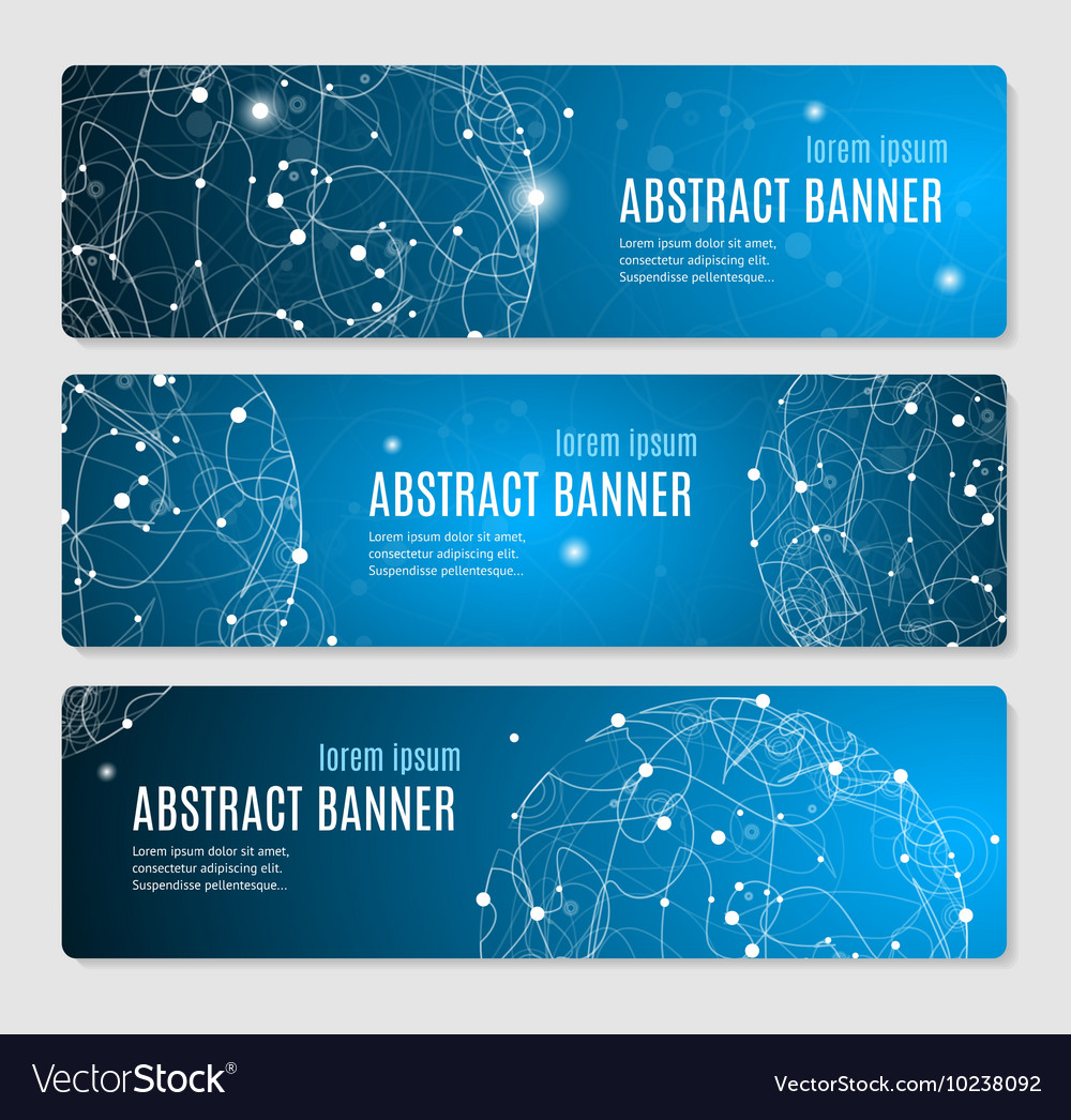 Abstract glowing sphere banner horizontal vector