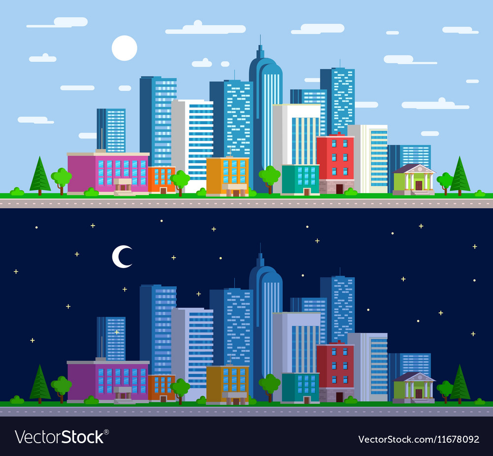 Set of wide panoramas the urban landscape vector