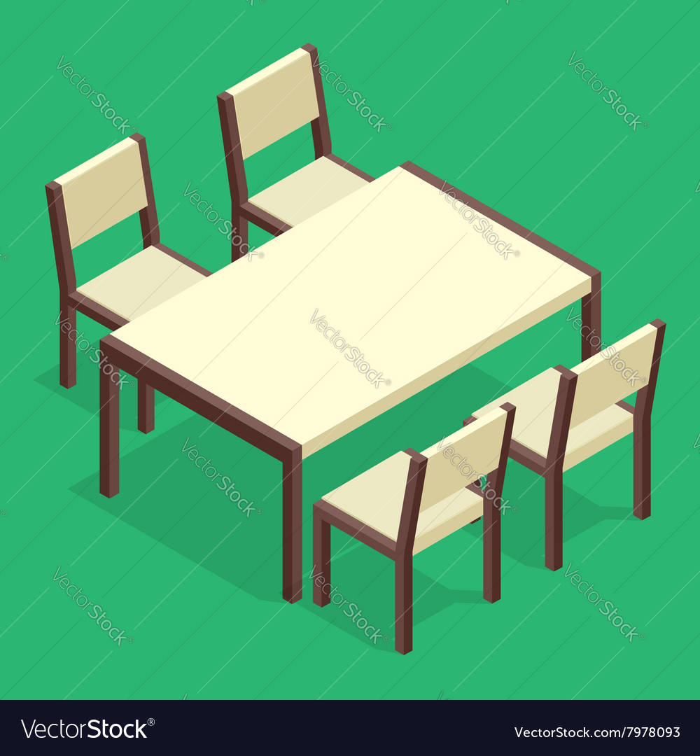 Wooden table with chairs for cafes modern table vector