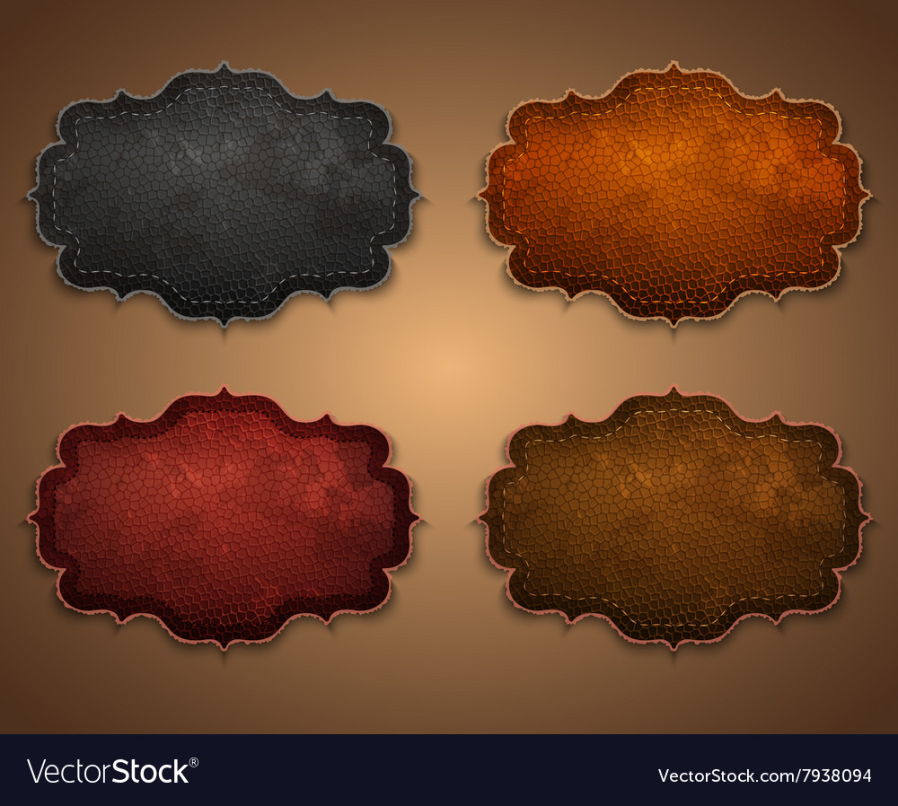 Set leather labels vector