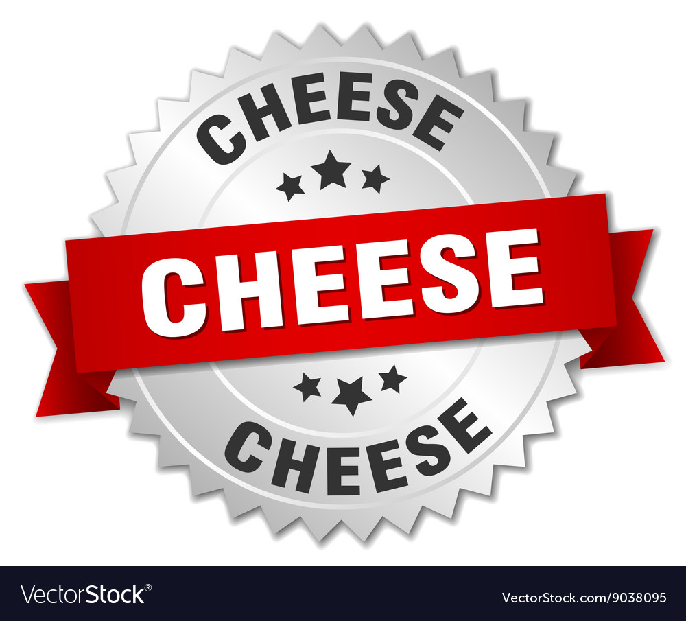 Cheese 3d silver badge with red ribbon vector