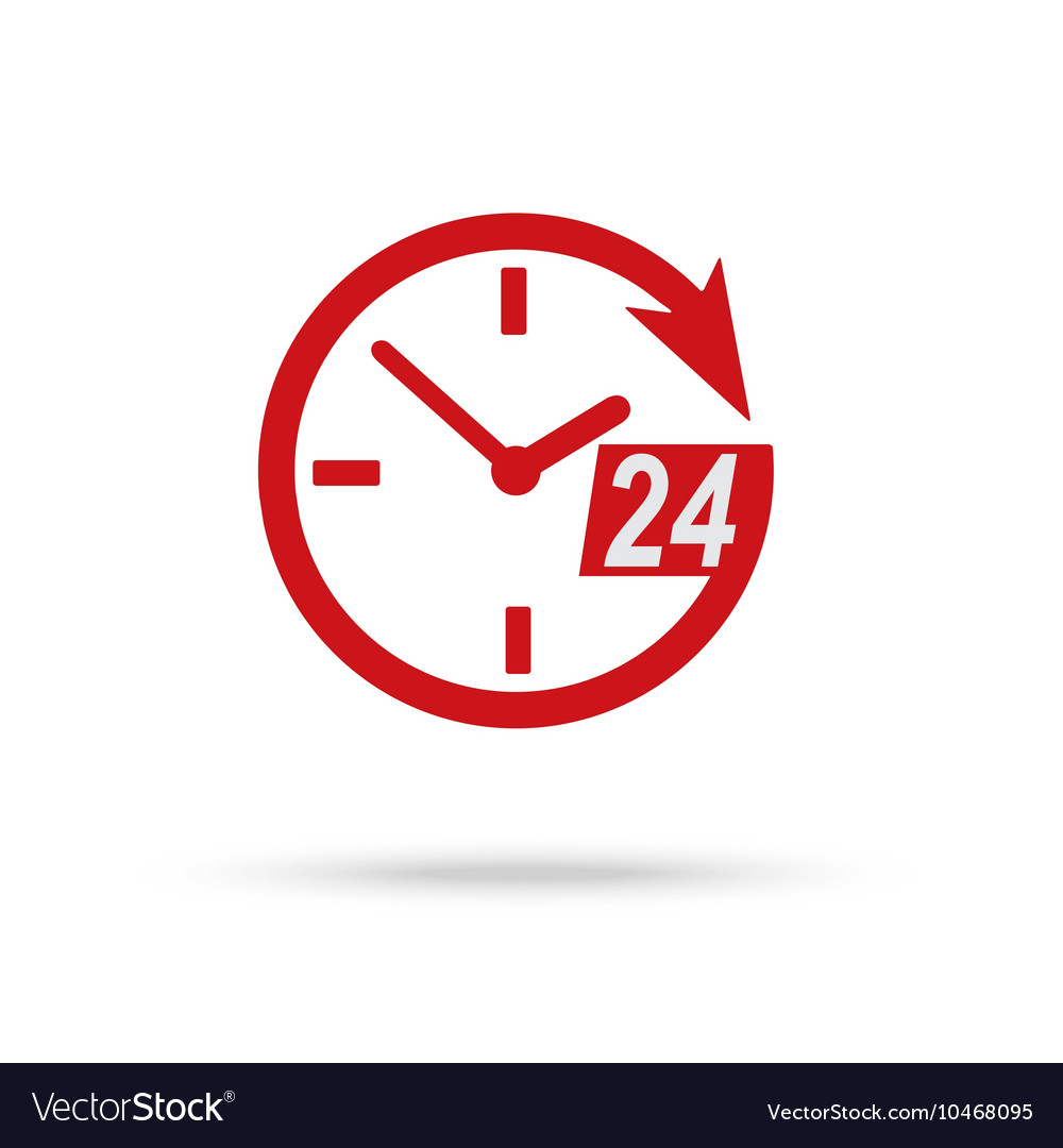 Red clock icon of 24 hour assistance vector