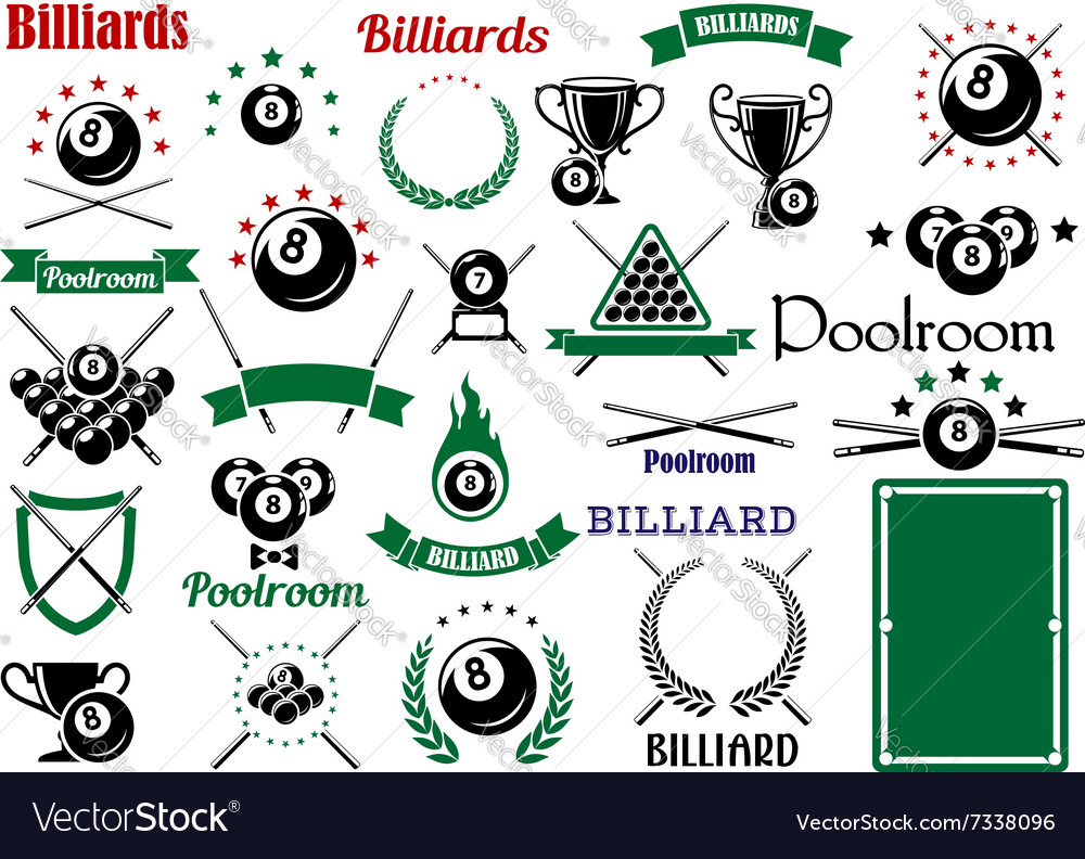 Billiards and pool items for sport game design vector