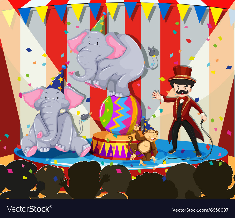 Animal show at the circus vector