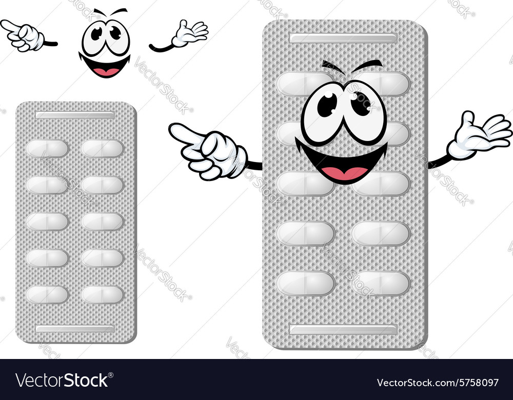 Cartoon smiling silver blister of pills vector