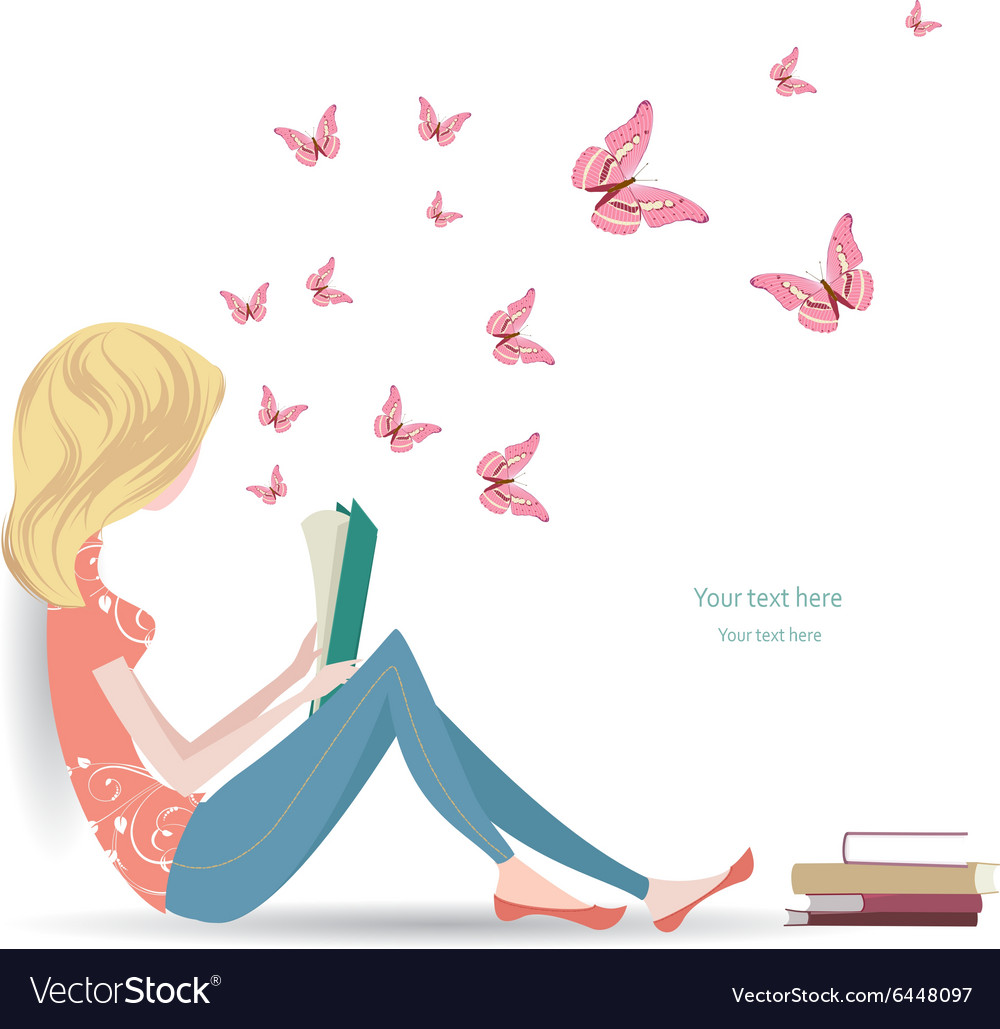 Cute girl is reading a sweet book vector