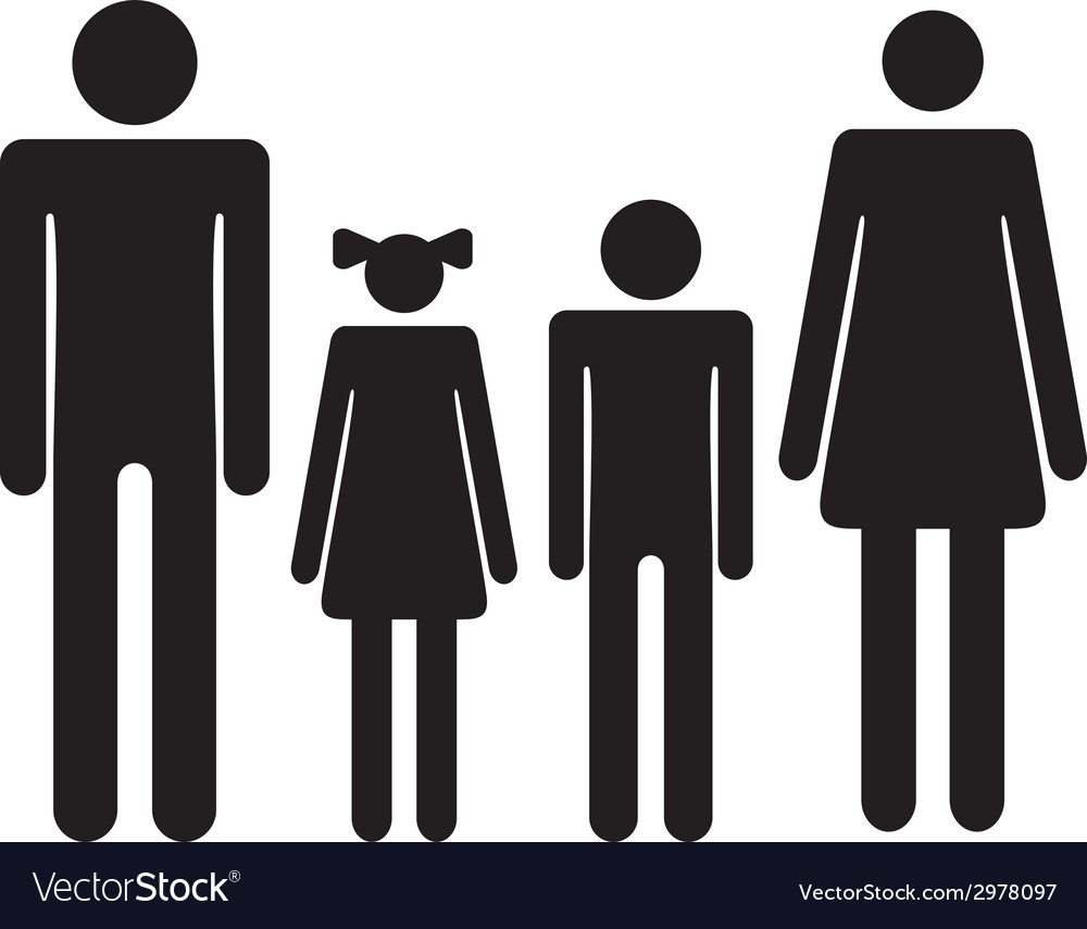 Silhouette family icon woman man boy girl vector
