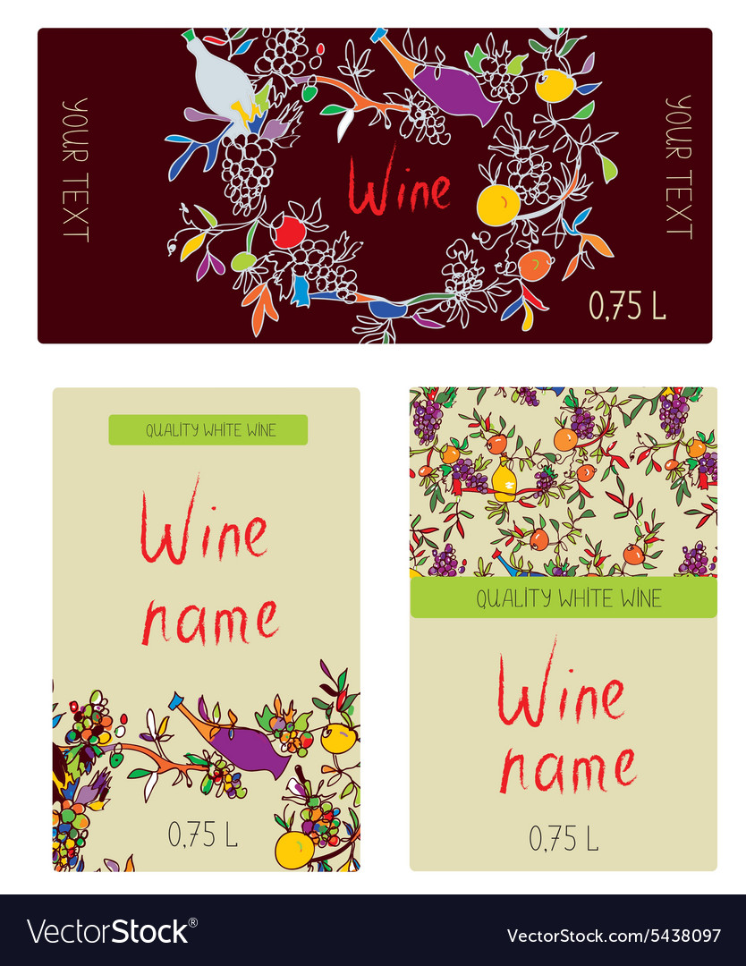 Wine labels set  funny desig vector