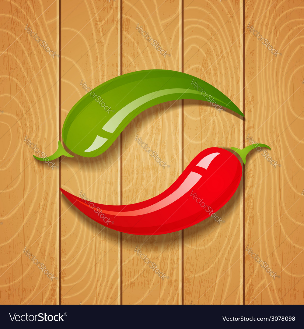 Chili on light wooden background vector