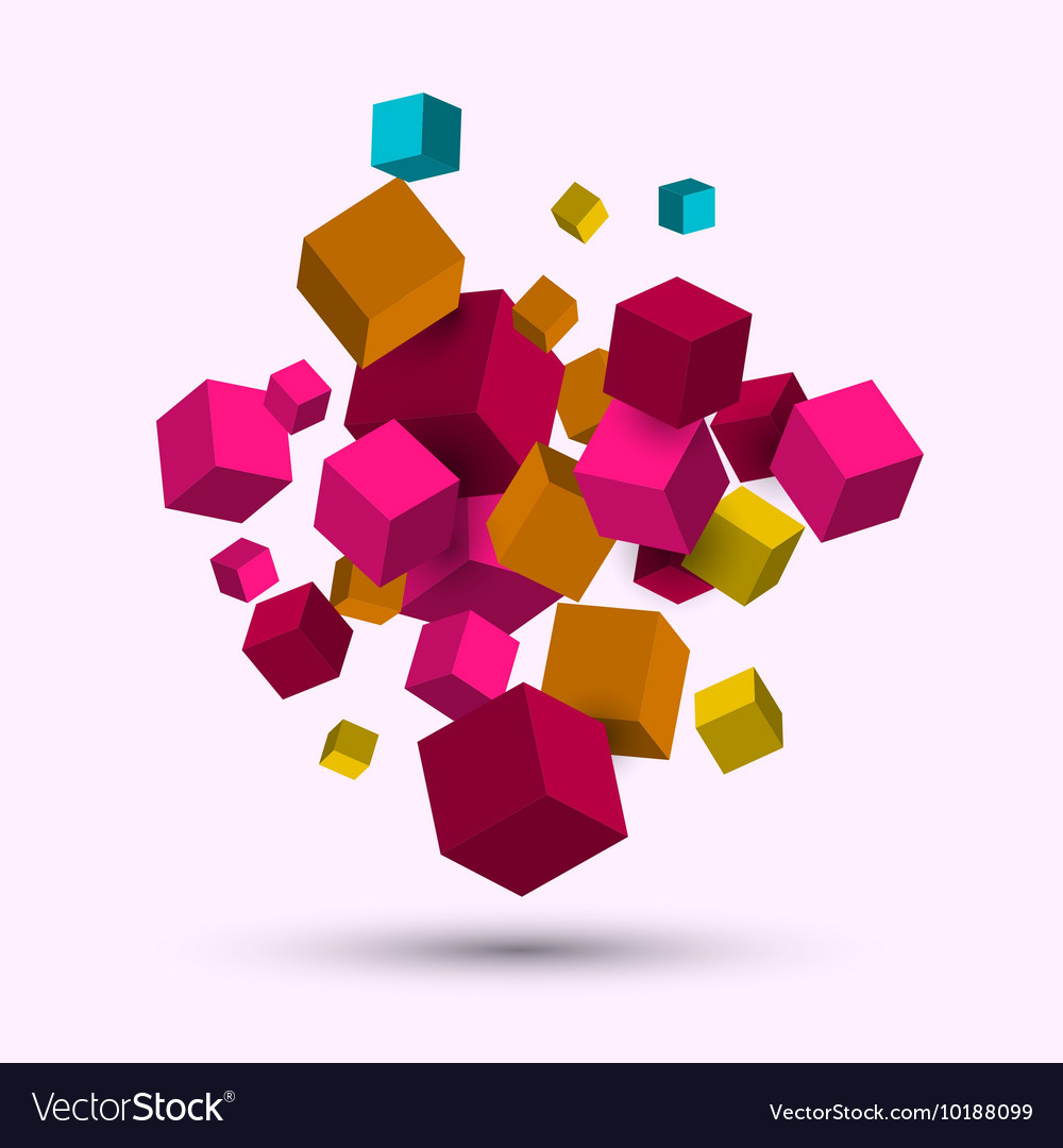 3d cubes geometric background with cubes vector