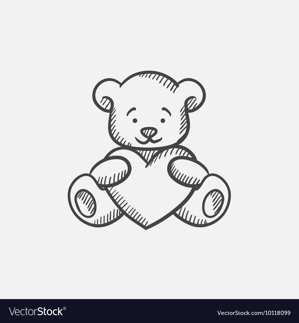 Teddy bear with heart sketch icon vector
