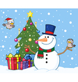 Snowman With A Cute Birds And Christmas Tree vector image