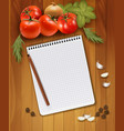 Fresh vegetables and spices on a wooden background vector image vector image