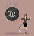 Business woman run away from heavy debt vector image
