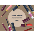 Collection of lip glosses lipsticks and lip vector image