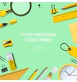 Colorful school supplies green background vector image