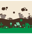 creative design green and polluted city vector image
