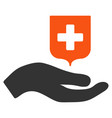 hand offer medical shield flat icon vector image
