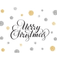 Merry christmas card with hand drawn lettering and vector image