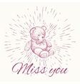 Teddy bear and vintage sun burst frame Miss you vector image
