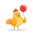 funny cartoon chick bird standing with red balloon vector image