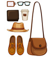 Hipster objects made of leather vector image