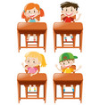 boys and girls sitting on desk vector image