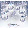 christmas background with baubles in silver vector image