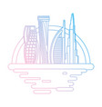 dubai cityscape cartoon neon lines vector image