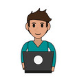 person desk flat vector image