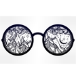 Round glasses with mountains in the reflection vector image