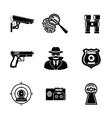 Set of Spy icons - fingerprint spy gun vector image