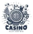 vintage monochrome casino logo template vector image